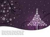purple floral, blossom background with christmas tree