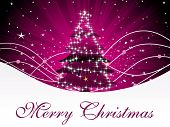 abstract magenta rays background with decorated xmas tree