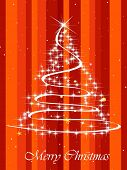 abstract lines background with shiny star pattern xmas tree