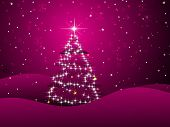 abstract magenta background with shiny xmas tree