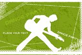 green texture dance party background with silhouette playing guitar