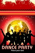 grungy background with disco ball, audience silhouette
