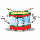 Wink toy drum character cartoon vector illustration