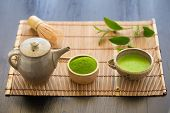 Set Of Matcha Powder Bowl Wooden Spoon And Whisk Green Tea Leaf Organic Green Matcha Tea Ceremony poster