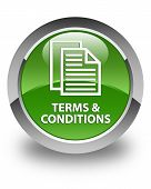 Terms And Conditions (pages Icon) Glossy Soft Green Round Button poster