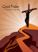 mountain way background with jesus silhouette in cross