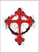 grungy crown of throns with red christian cross