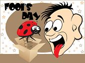 all fools day background with cartoon, vector illustration