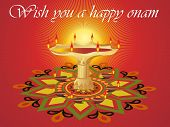 stock photo of pookolam  - rays background with oil lamp middle in rangoli - JPG