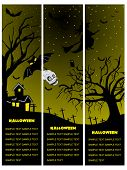 set of three halloween banner, illustration