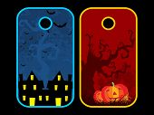 vector set of three halloween concept tag