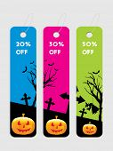 background with set of three halloween tag, illustration