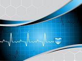 pic of heartbeat  - vector illustration of abstract medical background - JPG