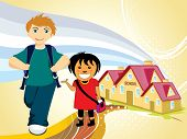 abstract education background with cute little student, illustration