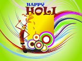 abstract colorful happy holi background with comic water gun, illustration