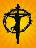 mustard rays background with crucifixtion of jesus, crown of thorns