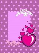 abstract purple dots background with blossom, romantic hearts