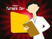 abstract maroon rays background with cute nurse holding file