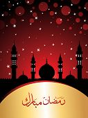 foto of ramadan kareem  - maroon twinkle star background with mosque - JPG