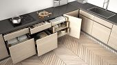 Modern Kitchen Top View, Opened Wooden Drawers With Accessories Inside, Solution For Kitchen Storage poster