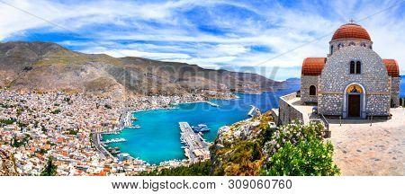 poster of Amazing Greece series - beautiful Kalymnos island, Dodecanese. view pf Pothia town and agios Savvas