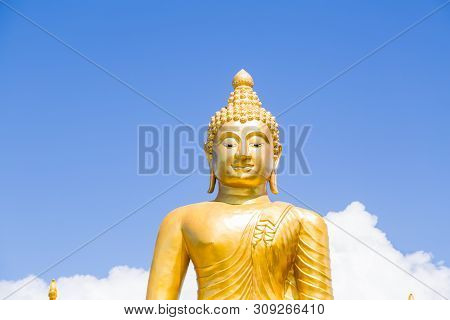 poster of The Big Golden Buddha Statue On Hill, Phuket, Thailand. Beautiful Golden Buddha Inside The Temple Of