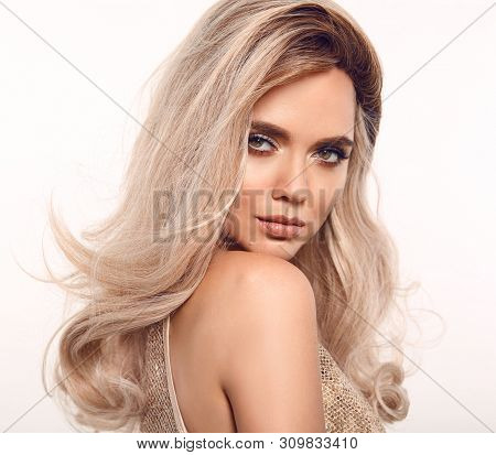poster of Ombre Blond Wavy Hair. Beauty Fashion Blonde Woman Portrait. Beautiful Girl Model With Makeup, Long
