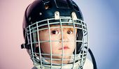 Boy Cute Child Wear Hockey Helmet Close Up. Safety And Protection. Protective Grid On Face. Sport Eq poster
