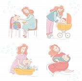 Four Sketches Of A Loving Mother And Baby Showing The Various Facets Of Motherhood, Parenting And Ch poster