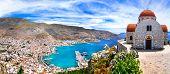 Amazing Greece series - beautiful Kalymnos island, Dodecanese. view pf Pothia town and agios Savvas  poster