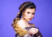 Beauty Salon Hairdresser Art. Girl Makeup Face Braided Long Hair. French Braid. Professional Hair Ca poster