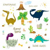 Adorable Dinosaurs Isolated On White Background. Dinosaur Footprint, Volcano, Palm Tree, Stones, Bon poster