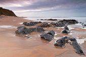 Rocky landscape of Atlantic ocean in Ballybunion, Ireland