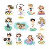 Kids Doing Sport Games, Vector Cartoon Illustration. Playing, Jumping, Swimming Boys And Girls With  poster
