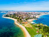 Santander City Beach Aerial Panoramic View. Santander Is The Capital Of The Cantabria Region In Spai poster