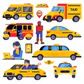 Taxi Vector Taxicab Transport Driver Man Character In Yellow Car Transportation Illustration Set Of  poster