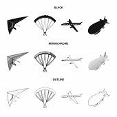 Isolated Object Of Transport And Object Logo. Set Of Transport And Gliding Vector Icon For Stock. poster