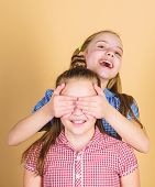 Guess Who. Playful Little Girl Covering Eyes Of Her Cheerful Sister And Smiling. Cute Children Happy poster