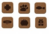Pet shop wooden icons set