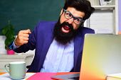 Angry Scientist With Laptop. Bearded Man With Notebook. College Teacher Screaming On Students. Stres poster