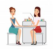 Vector Illustration Of Young Women In Manicure Salon. Manicurist Doing Procedure With Nail Polish, M poster