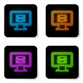 Glowing Neon Computer Monitor And Envelope, New Message, Mail, Email Icon Isolated On White Backgrou poster