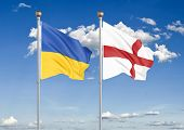 Ukraine Vs England. Thick Colored Silky Flags Of Ukraine And England. 3d Illustration On Sky Backgro poster