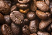 Coffee Beans Background. Brown Roasted Coffee Beans. Represent Breakfast, Energy, Freshness Or Great poster