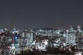 Building Of The City With Modern Buildings In Korea, Night View. Beautiful Landscape Of The City At  poster
