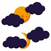 Halloween Colorful Cloudy Moon Night Icon Set: Full Moon And Growing Moon. Dark Colored Weather Icon poster