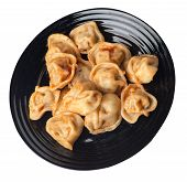 Dumplings On A Black Plate Isolated On White Background. Dumplings In Tomato Sauce. Dumplings Top Si poster