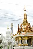 Close up shot of religious equipment of small buddhist spirit house in Bangkok, Thailand poster