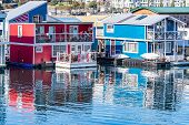 Float Homes/ Floating Houses On The Waterfront At Fishermans Wharf In Victoria, Canada. Residents Li poster