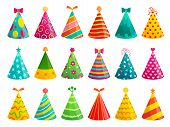 Cartoon Birthday Party Caps. Funny Celebration Cap, Holiday Cone And Colorful Paper Hat. Party Hat,  poster